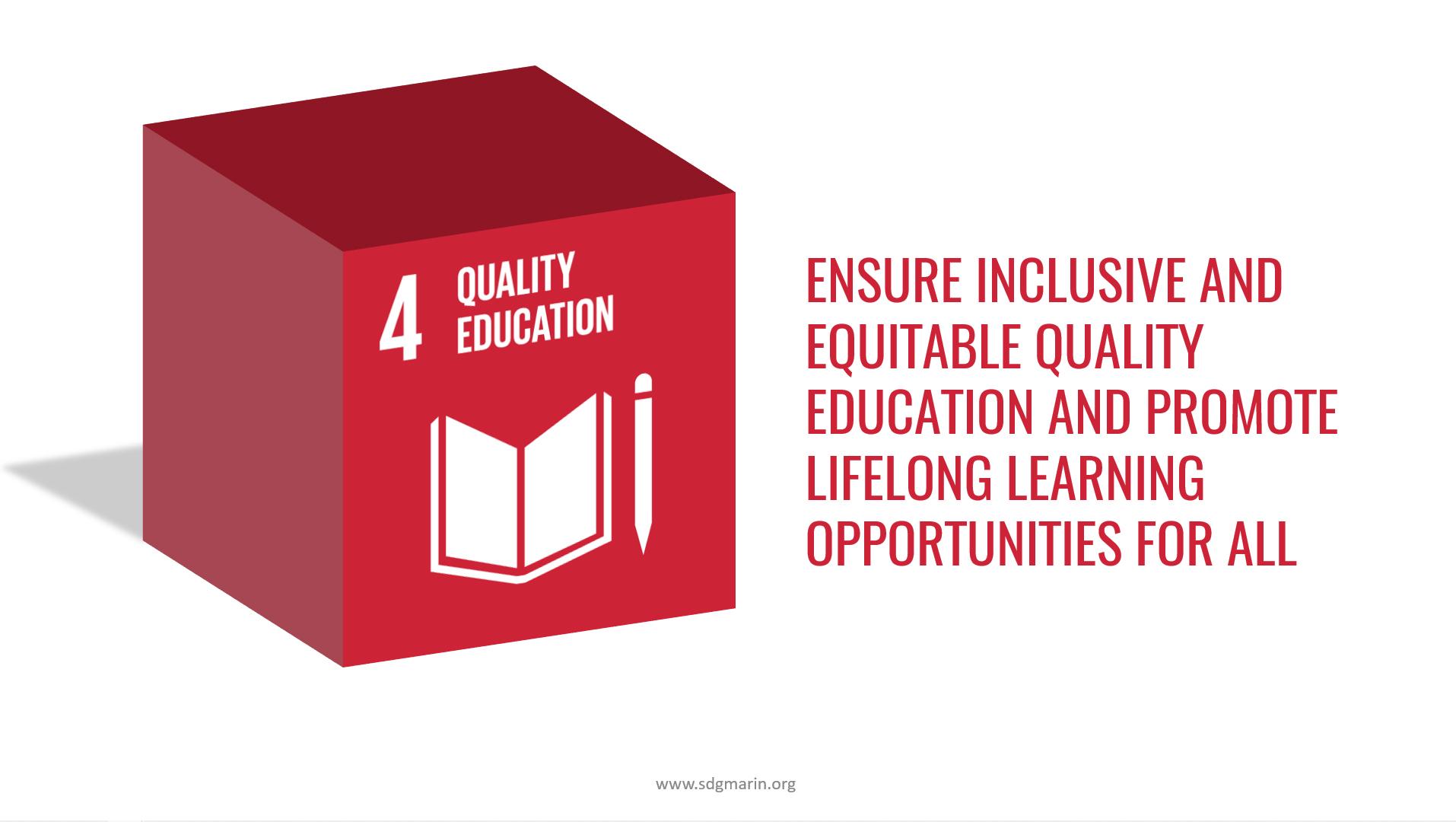 SDG #4 Quality Education 3D blocl